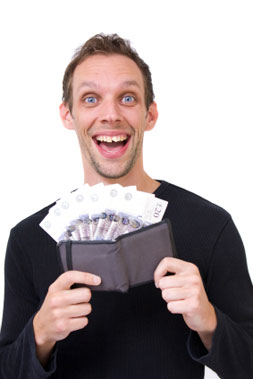 Happy person with payday loan